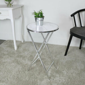 Silver & White Marble Side table bedside accent coffee table living room decor