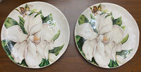 Pier 1 Magnolia Salad Plates Creamy White Floral  Set Of 2 EUC