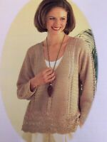"Ladies Crochet Sweater Pattern Lace Style Chest 30 - 40"" 4Ply  BR631"