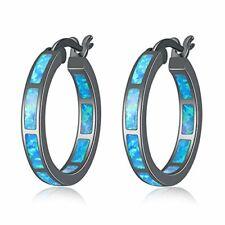 Women Black Gold Plated Hoop Hypoallergenic Blue Opal Hoop Earrings for Girls