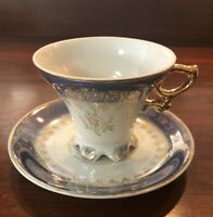 Vintage Royal Sealy Japan 6-Toed Lusterware Cup And Saucer. Blue, White, Gold
