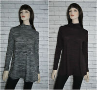 M&S Roll Neck Long Sleeve Grey or Burgundy Marl Tunic Swing Top dress Size 6-24