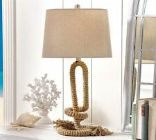 """30"""" Nautical Rope Design Metal Table Lamp w Polyester Shade"""