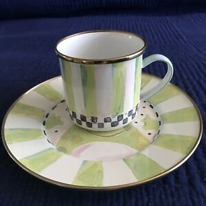 Mackenzie-Childs Enamelware Children's Cup & Plate FROG Kid's Dinnerware Mug Set
