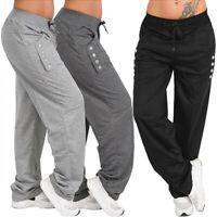 Women Drawstring Straight Trousers Long Pants Elastic Waist Loose Plus Size