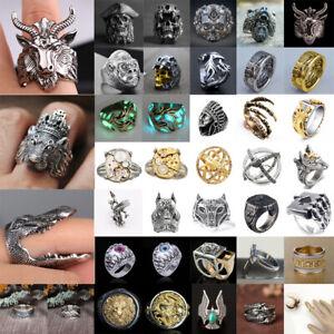 Men's Women Stainless Steel Ring Gothic Punk Skull Biker Finger Rings Jewelry