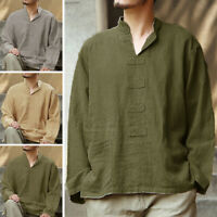 Men's Casual Shirts Long Sleeve Linen Vintage Blouse Yoga Holiday Shirt Tops Tee