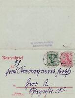 Kartenbrief verschickt von Berlin nach Gern aus dem Jahr 1917