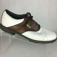 Footjoy White Brown Leather Oxford Golf Cleat Spiked Shoes Mens Size 10.5 M