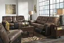 Ashley Follett 3 Piece Living Room Set in Coffee Contemporary Style