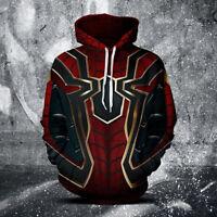 3D Cosplay Marvel Spider-Man Sweater Hoodie Fashion Costume zip Jacket Coat