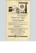 1923 Paper Ad Good Ad Sign Texaco Pump Decalcomanie Palm Fechtler Pioneers
