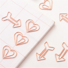12pcs Arrow Heart Shape Paper Clips Hollow Out Binder Clips Tickets Clamp New