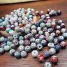 20 Pcs 10mm Flower Glaze Pattern Round Ceramic Porcelain Loose Beads Jewelry