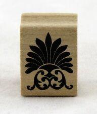 Fan Flourish Wood Mounted Rubber Stamp Martha Stewart NEW plant fancy art scroll