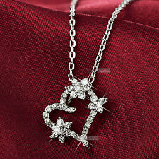 18k white gold gf simulated diamond love heart flower pendant necklace