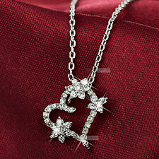 18k white gold gf simulated diamond heart flower pendant necklace