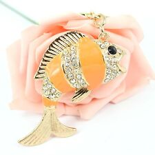 Lovely Carp Fish Cute Crystal Pendant Charm Purse Bag Key Chain Ring Wedding Gif