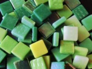 Green Mixed 12mm Glass Tiles - Mosaic Tile Supplies Art Craft