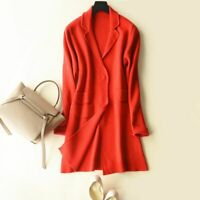 Long Cashmere Sweater Women Wool Blended V-neck Cardigan Long Sleeve Solid Color