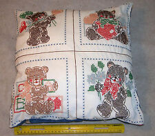 "14-1/4"" Embroidered Case on Pillow with 4 Panels of Bears Bear Design Backing"