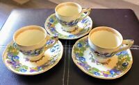 """GORGEOUS SET of 3 CROWN DUCAL """"FLORENTINE GARDEN""""  DEMI CUP & SAUCERS GOLD"""