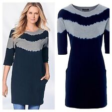 Kaleidoscope Size 14 Grey Blue Dip Dye Sweatshirt TOP £49 Casual Must See Fab