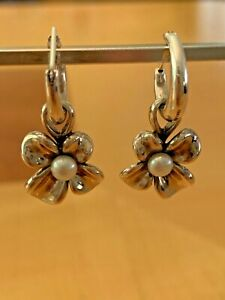 Anna King Sterling Flower and White Pearl Hoop Earrings