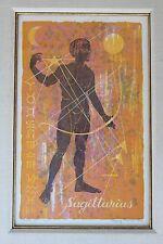 "NANCY NEMEC (1924-2003) PENCIL SIGNED 1960 L/E WOODCUT ""ZODIAC XI"" SAGITTARIUS"