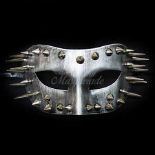 Steampunk Costume Theater Masquerade Mask with Spike for Men - Metallic Silver