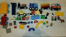 Large Lot Of Lego Duplo Train Cars Trucks & Other Transportation Related Pieces