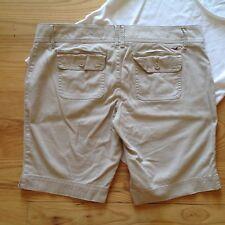 Hollister Khaki Bermuda Shorts Women 11 Beige Stretch Cotton