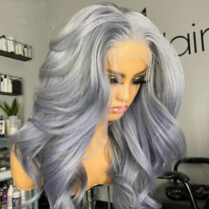 Fashion Silver Grey Body Wave Wig Synthetic Lace Front Wigs Fluffy Long Wave Wig