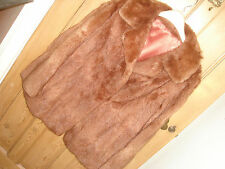 real fur vintage jacket  brown ? coney rabbit size 10 12 small/medium ( code G)