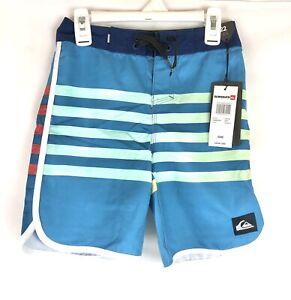 Quiksilver, Boy's Everyday Board Shorts, Size 22/8S, Blue/Yellow Swimwear