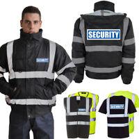 Hi Vis Security Reflective Bomber Parka Jacket Vest T-Shirt | Yellow & Black