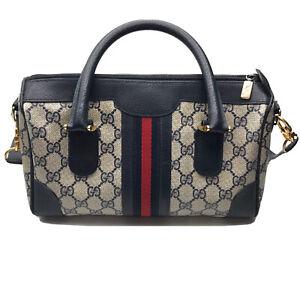 Gucci Purse Handbag Vintage Monogram GG Blue Red Shoulder Strap Coated Canvas