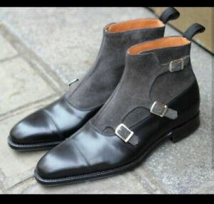 Triple Buckle Straps Two Tone High Ankle Gray Black Superior Leather Men Boots