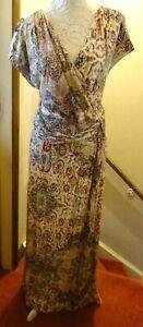 MONSOON MULTICOLOUR PRINT STRETCH JERSEY SLEEVELESS MAXI DRESS 22/24 BNWOT