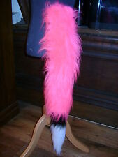 Bright Pink Fancy Dress Fox Tail White/Black Luxury Faux Fur Clip On Animal Tail