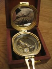 QUALITY VINTAGE STYLE SOLID BRASS NAUTICAL BRUNTON SHIPS COMPASS IN TEAK BOX