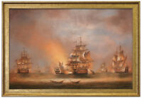 """Framed Fine Oil Painting Of Three Business Ships On The Sea In Sunset 29""""X41"""""""
