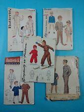 Lot #140 Group of 5 Vintage Sewing Patterns Children Boys Girls Snowsuit PJs