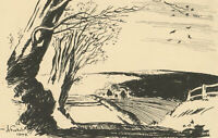 Henry E. Foster (1921-2010) - Signed 1942 Pen and Ink Drawing, Landscape Study