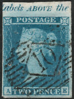 1841 SG14 2d BLUE PLATE 3 MARGINAL INSCRIPTION TOP MARGIN 4 MARGINS PINHOLES AE