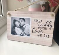 Personalised Fathers Day Wooden Sign Plaque Step Daddy Photo Gift