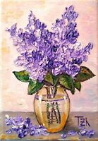 Lilac Original Botanical Textured oil painting Floral still life 5 x 7 in
