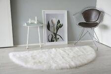 Genuine Sheepskin Rug Half Moon Cream White Mix Super Soft Fluffy Fur Short Wool