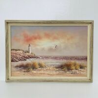 "Large Framed Vintage Seascape Lighthouse Nautical Beach Oil Painting 41"" X 29"""