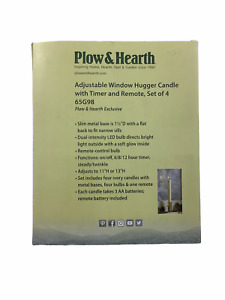 Plow & Hearth Adjustable Window Hugger Candles Pewter no Remote